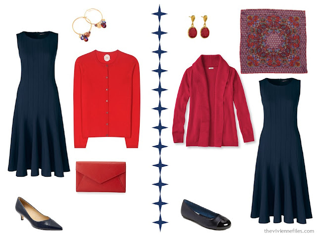 2 ways to wear a navy dress with red accessories