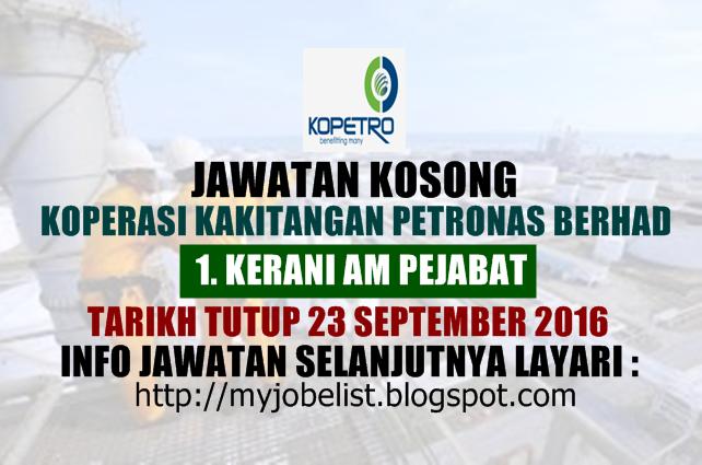 Jawatan Kosong Koperasi Kakitangan PETRONAS Berhad september 2016