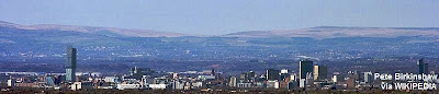 Manchester Skyline - pictured by Pete Birkinshaw. Source: Wikipedia.