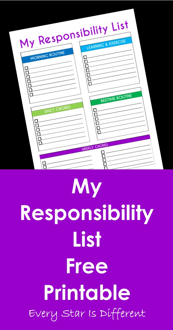 Teaching Children About Responsibility with Free Printable - Every Star Is Different
