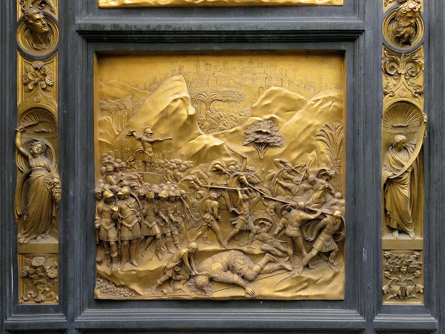 David, copy of the original bronze panel of the Gates of Paradise by Lorenzo Ghiberti, Baptistry of Saint John, Florence