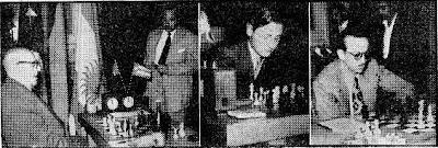 Doctor O. Bernstein, Jan-Heinz Donner y Héctor D. Rossetto en el Torneo Internacional de Ajedrez de Barcelona 1952