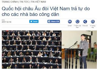Quốc hội Liên minh Châu Âu đang can dự quá đáng vào Việt Nam