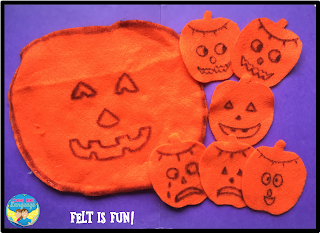 Teaching emotions with felt pumpkins! Free and easy!