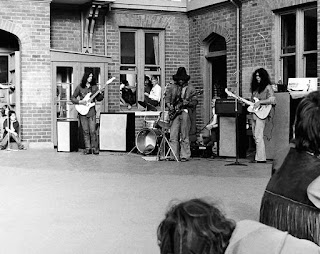 Butler, Christchurch Old University, 1971. Left to right Angel (Robert Adams), Steve (Apirana), Heidi (Matthew Warren). Hori Sinnott is hidden behind Steve on the drums.