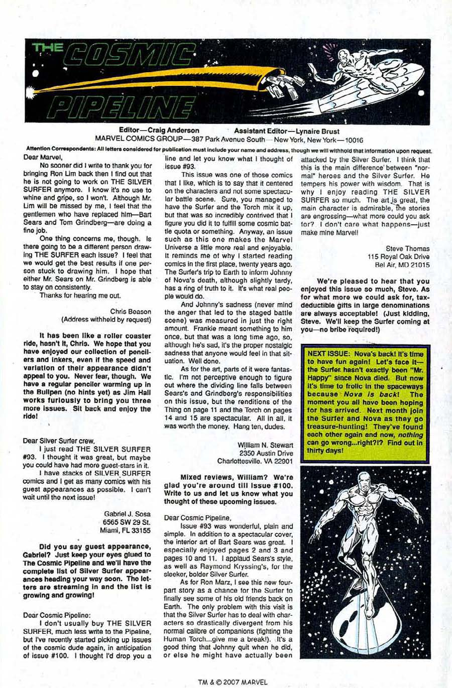 Read online Silver Surfer (1987) comic -  Issue #96 - 33