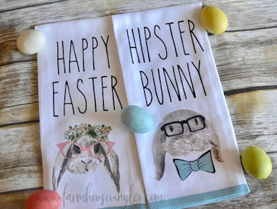 Hipster Bunny Towel on Etsy