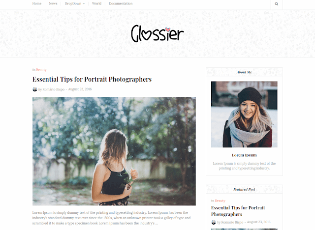 Templat Blogger Glossier Clean