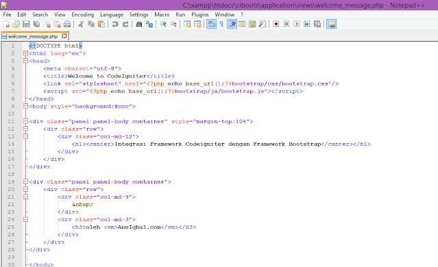 Integrasi Framework Codeigniter dengan Framework Bootstrap