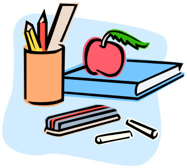Clipart of teacher supplies, including books, stationary and an apple