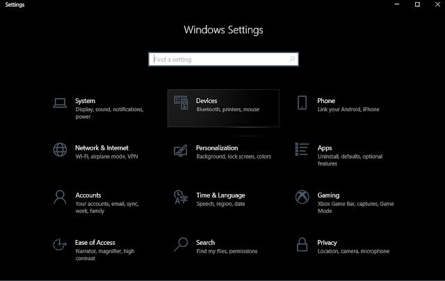 قائمة إعدادات ويندوز Windows settings