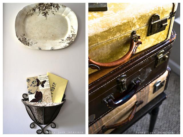 Snooping inside junker Bella Rustica Linda's house via Funky Junk Interiors - stacked luggage