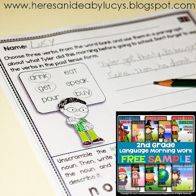 FREE Second Grade Language Morning Work Sample: 10 No-Prep Printable Worksheets