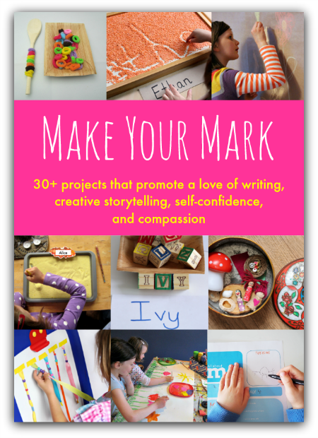 Make Your Mark- over 30 ideas to promote a love of writing, creative storytelling, self-confidence, and compassion.  Practical and easy activities for preschoolers, kindergartners, and older kids.