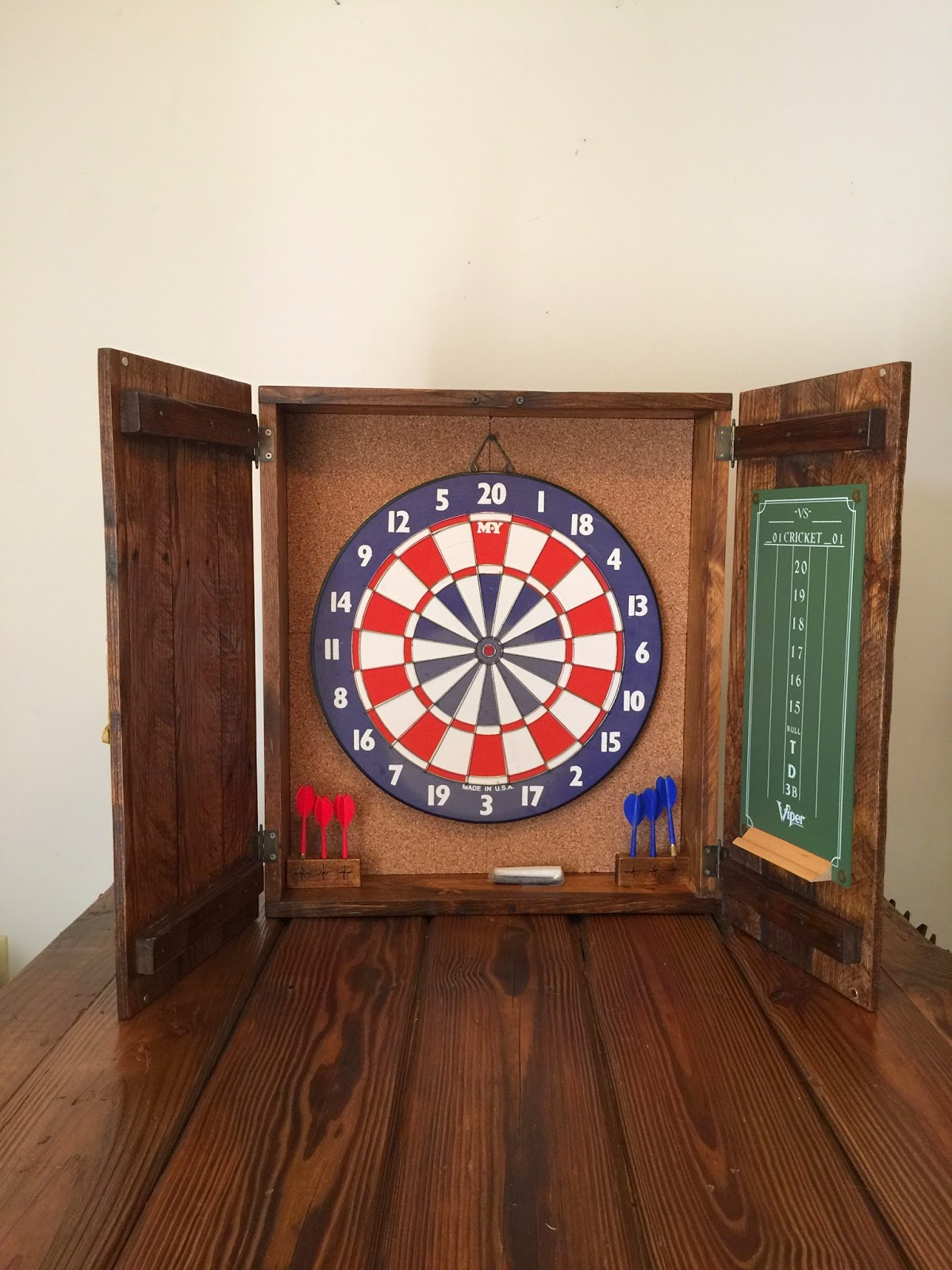 Rustic Dart Board Cabinet With Old-School Dart Board