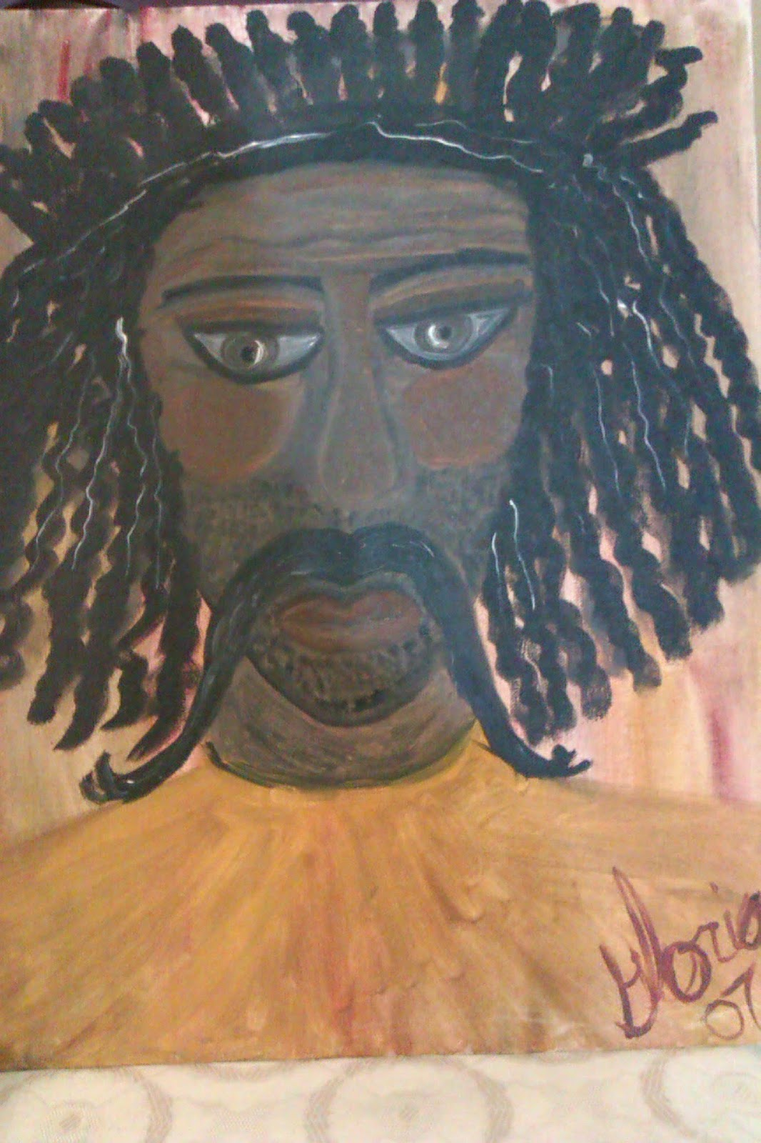 """Ghanian Man"" oil painting by Gloria Poole; year 2007"