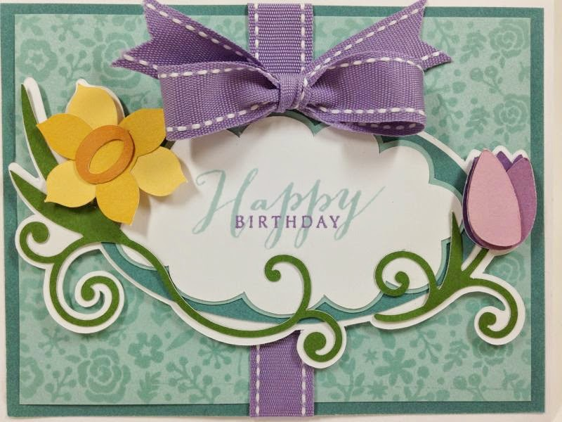 Cricut Floral Frame Birthday Card closeup