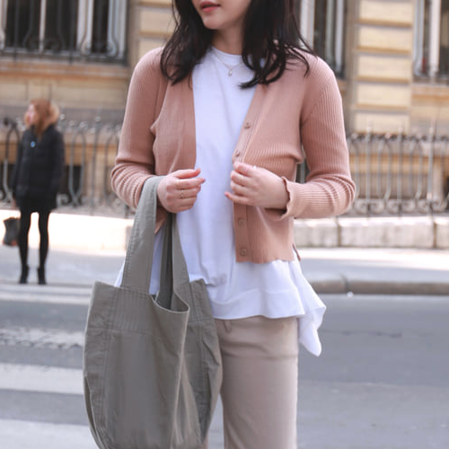 Button-Down Ribbed Slit Cardigan