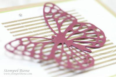 Jubiläumskarte, Stampinup Jubiläum; Playful Backgrounds; Schmetterlingskarte; Stempel-biene; Stampinup Stempelparty; Stampinup Katalog 2017