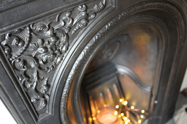 floral details of victorian fireplace