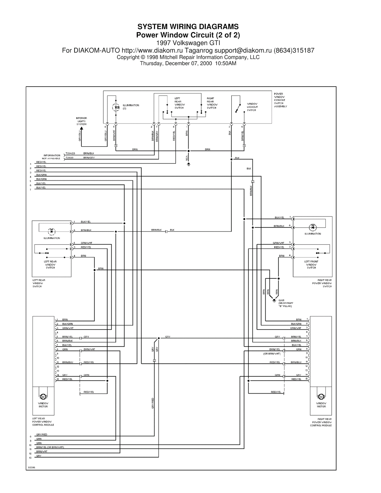 1997 Volkswagen GTI Power Window Circuit SYSTEM WIRING
