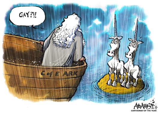 Funny Noah's ark gay unicorn cartoon joke picture