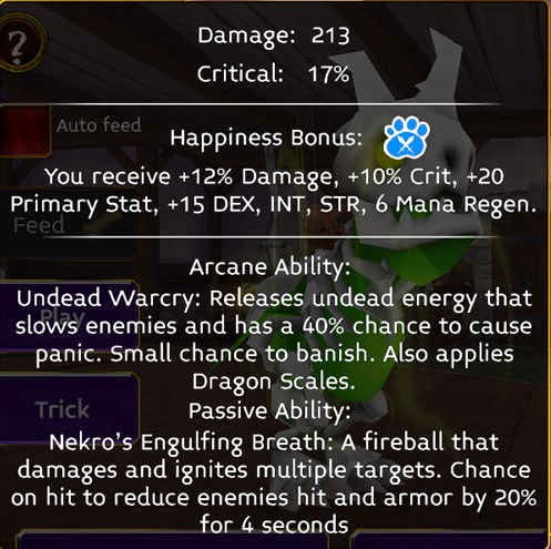 Nekro stats in arcane legends
