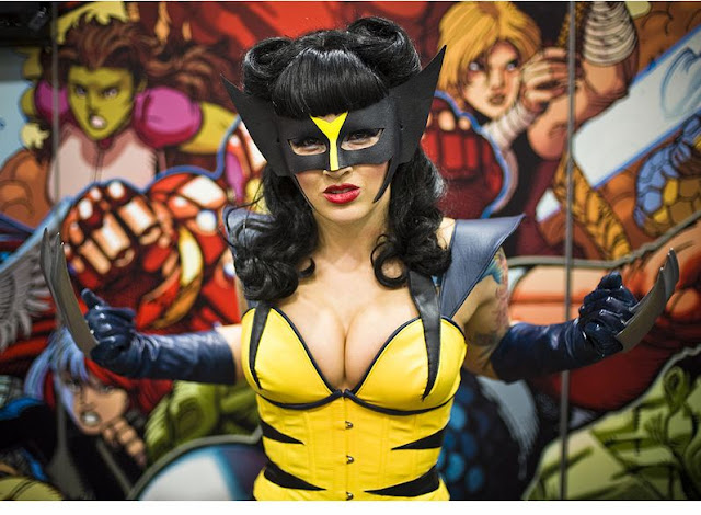 female wolverine cosplay with big breasts