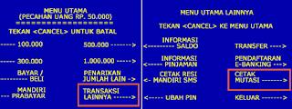 cara cek mutasi BRI melalui ATM