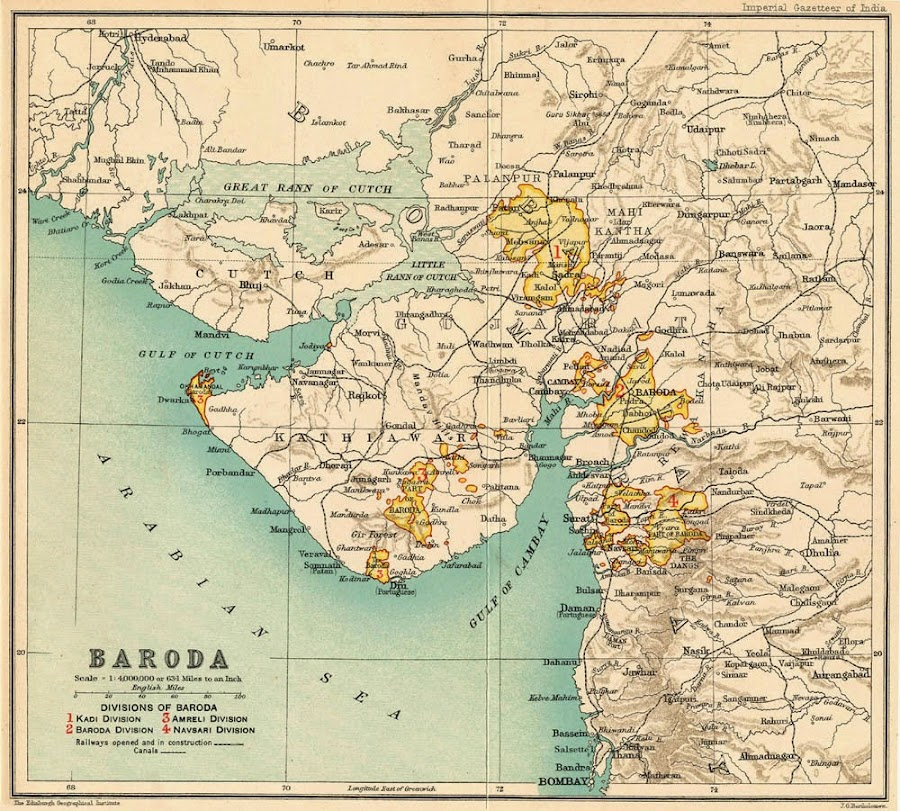 Baroda State Map - Year 1909
