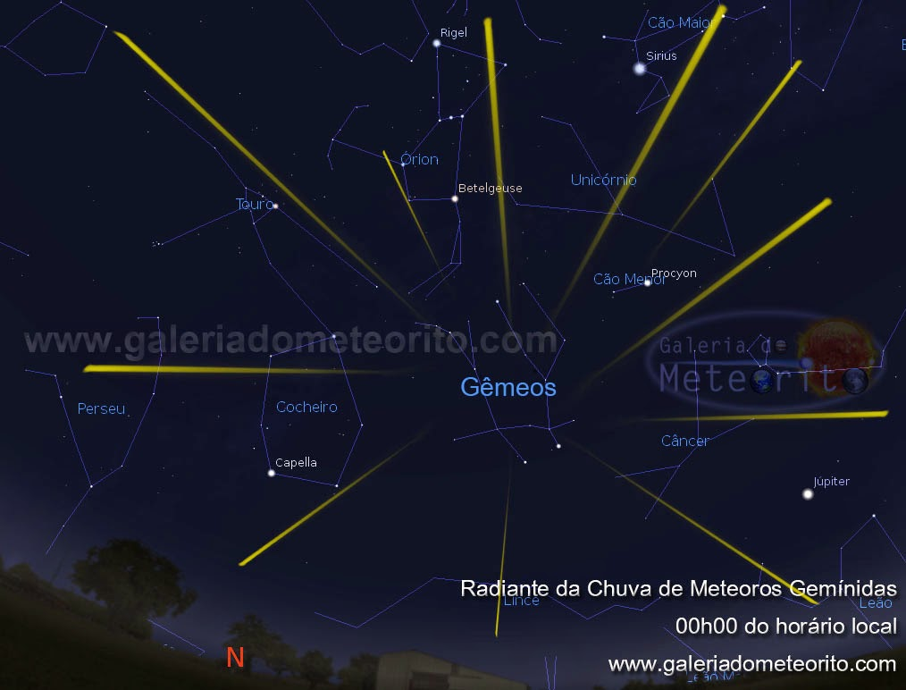 chuva de meteoros gemínidas 2014