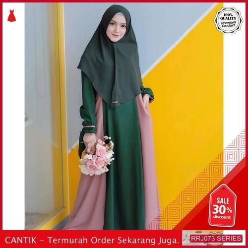 Jual RRJ073D109 Dress Muslim Rusma Wanita Green Pink Wd BMGShop