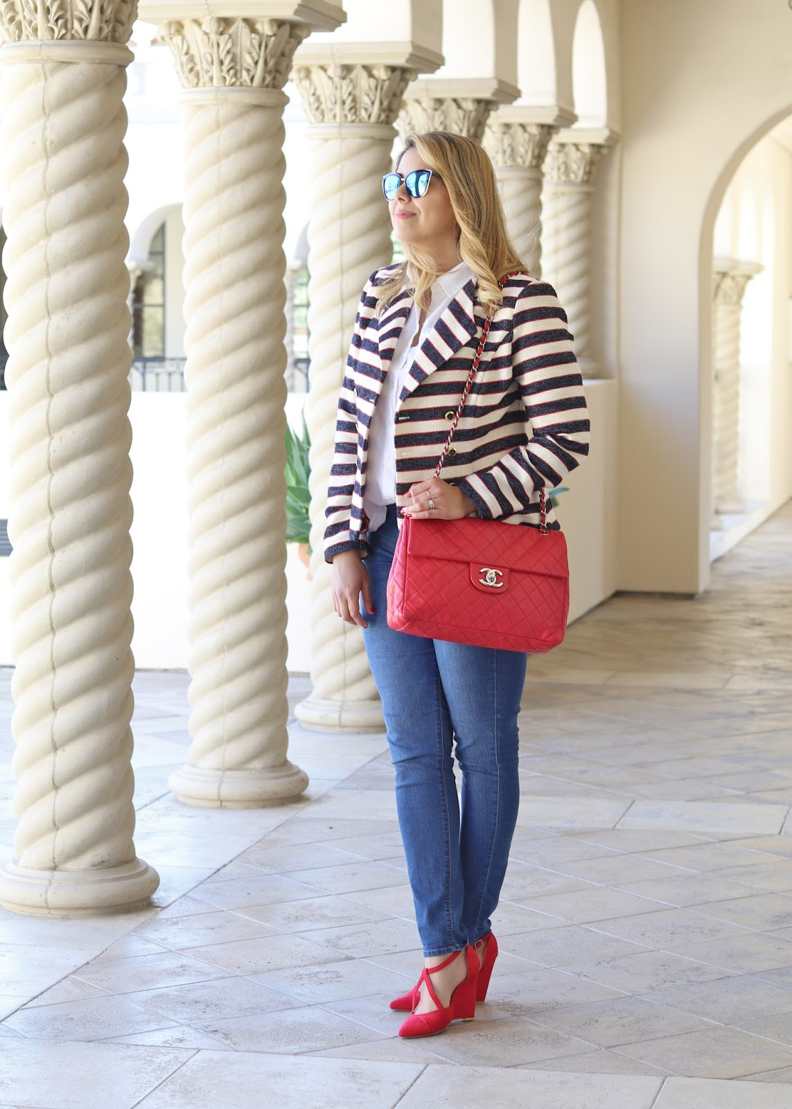 qupid red heels, how to wear red heels, red heels and skinny jeans, striped blazer