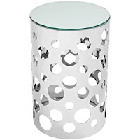 Chrome End Table with Glass Top