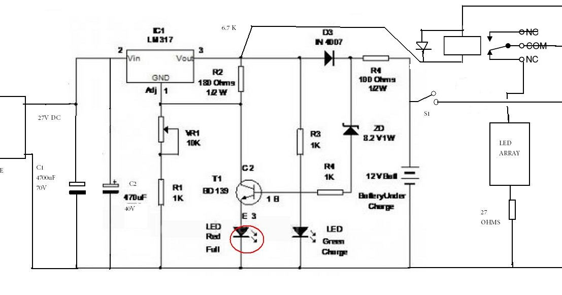 irf 540 in automatic battery charger circuit