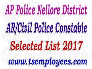 AP Police Nellore District AR/Civil Police Constable Selection List 2017 Merit List Marks