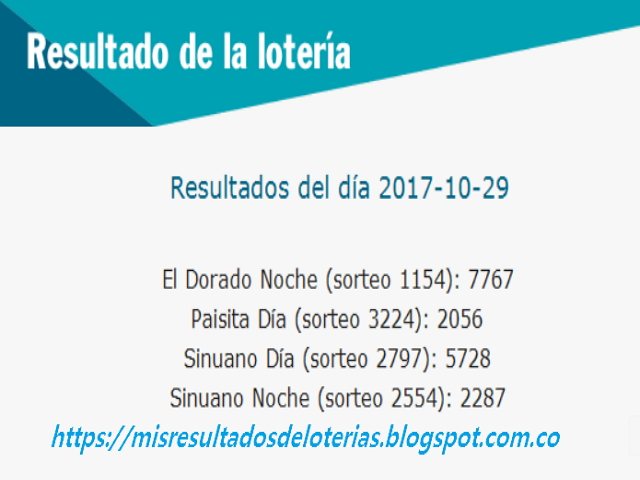 Como jugo la lotería anoche - Resultados diarios de la lotería y el chance - resultados del dia 29-10-2017