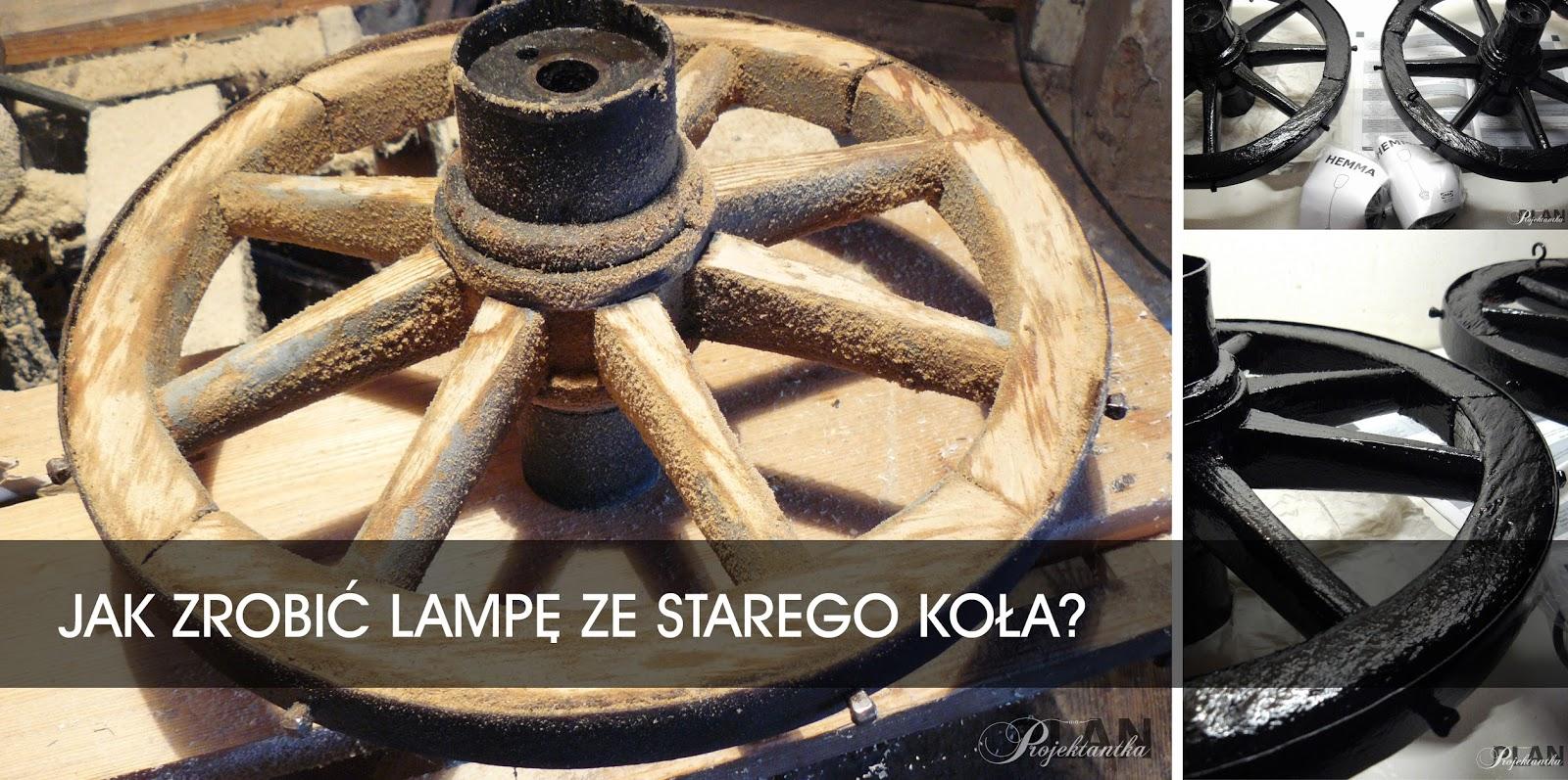 stare koło, projekt DIY, lampa z drewnianego koła