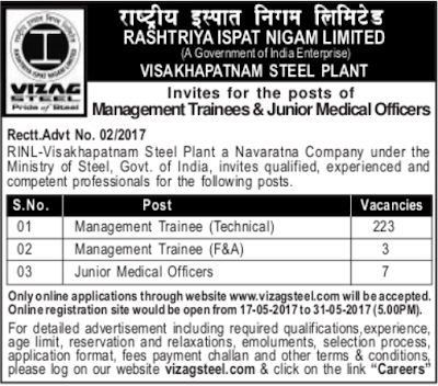 Vizag Steel Plant Management Trainee Recruitment 2017 & JMO