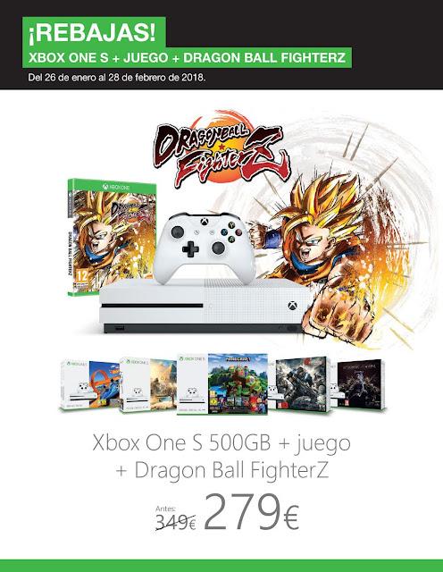 Xbox One S con Dragon Ball Fighter Z y otro juego por 279 euros