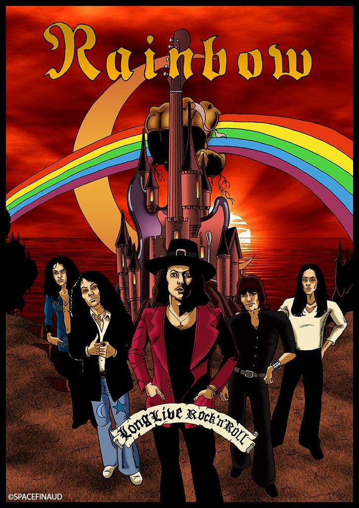 Après quelques mois d'absence, je reviens publier mon premier travail de l'année. Il s'agit de RAINBOW, célèbre groupe de Ritchie Blackmore (ex-DEEP PURPLE).   RAINBOW (fondé en 1975 puis splitté en 1984, reformé en 1993 jusqu'en 1997... Puis reformé en 2015) compte de nombreux musiciens. Et aussi de styles musicaux, passant du Hard Rock au Hard FM.  J'ai préféré choisir la formation la plus connue, la formation de 1976 avec Ronnie James Dio au chant, Cozy Powell à la batterie, Jimmy Bain à la basse et Tony Carey au Synthé.  Des albums à conseiller :  Ritchie Blackmore's Rainbow(1975) Rainbow Rising (1976) On Stage (1977) Long Live Rock'N'Roll (1978)