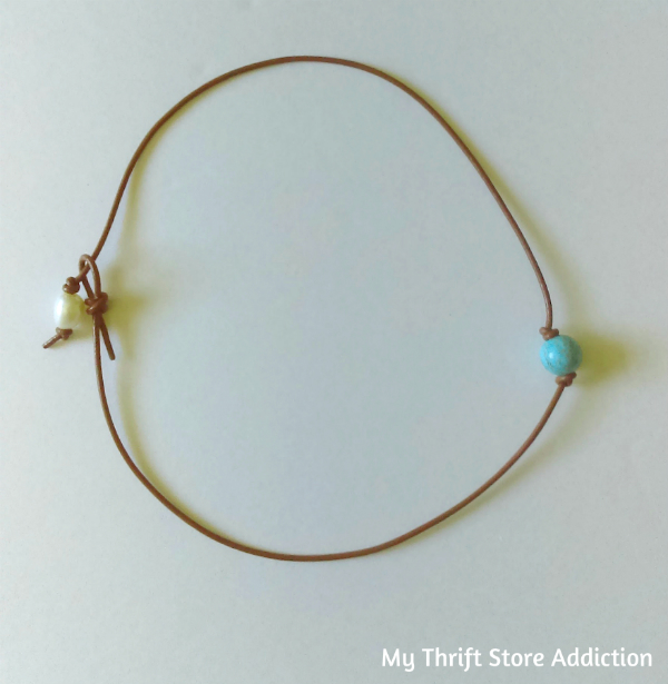 Leather turquoise and fresh water pearl necklace