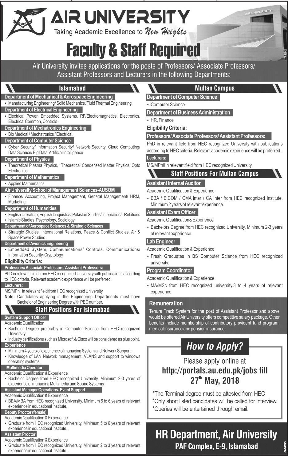 Lecturers & Faculty Jobs in Air University Jobs in Pakistan