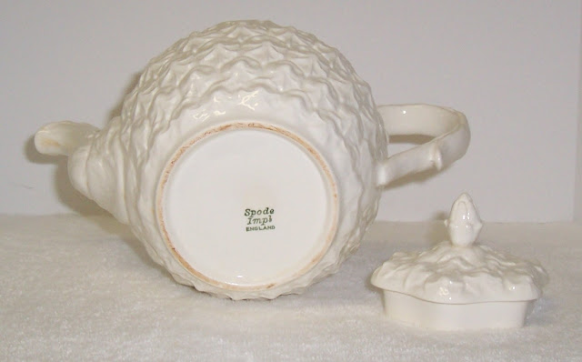 White Spode Teapot Imperial Fancies Pattern Pineapple bottom mark