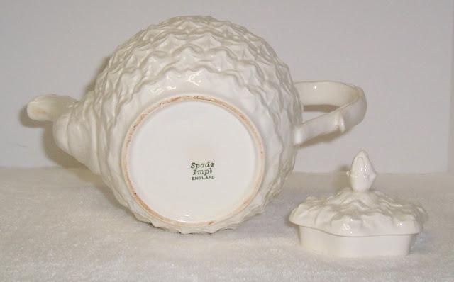 White Spode Teapot Imperial Fancies Pattern Pineapple bottom mark