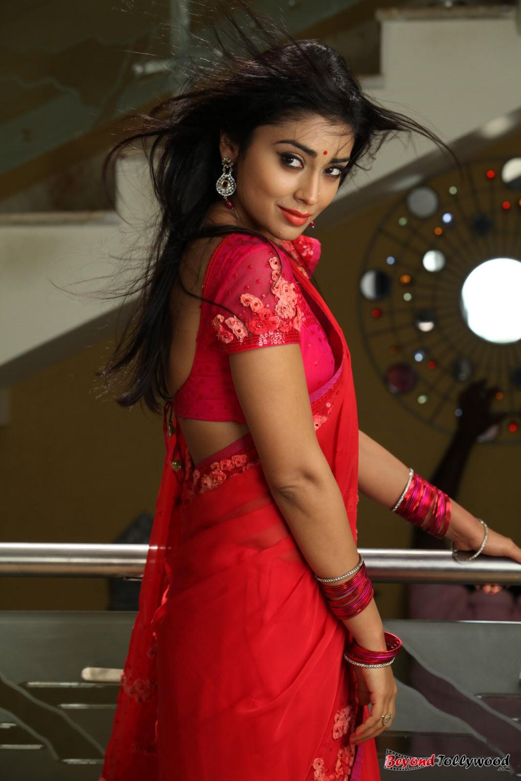 Tollypicz Shriya Saran Hot Red Saree Stills From Pavitra-6107