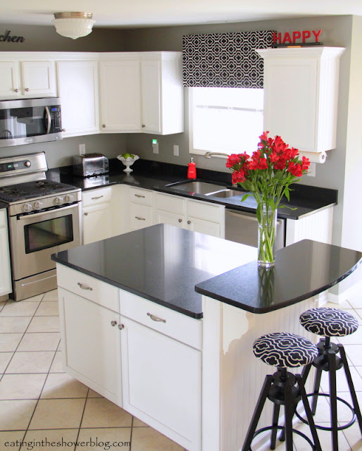 Black and White Kitchen with Quartz Island