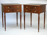 Walnut and Crotch Walnut Nightstands handmade by Doucette and Wolfe Furniture Makers