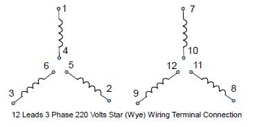 12 leads terminal wiring guide for dual voltage star (wye ... 3 phase wye delta wiring diagram 3 phase wye motor wiring