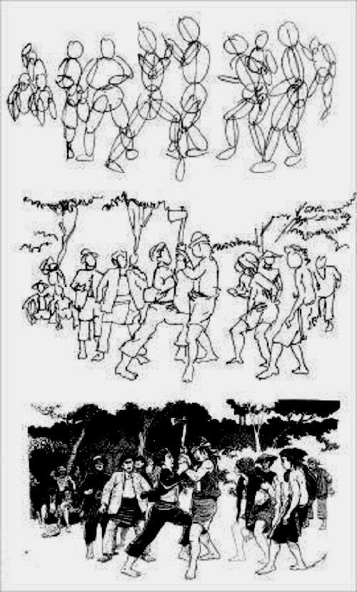sketsa gambar aktifitas manusia